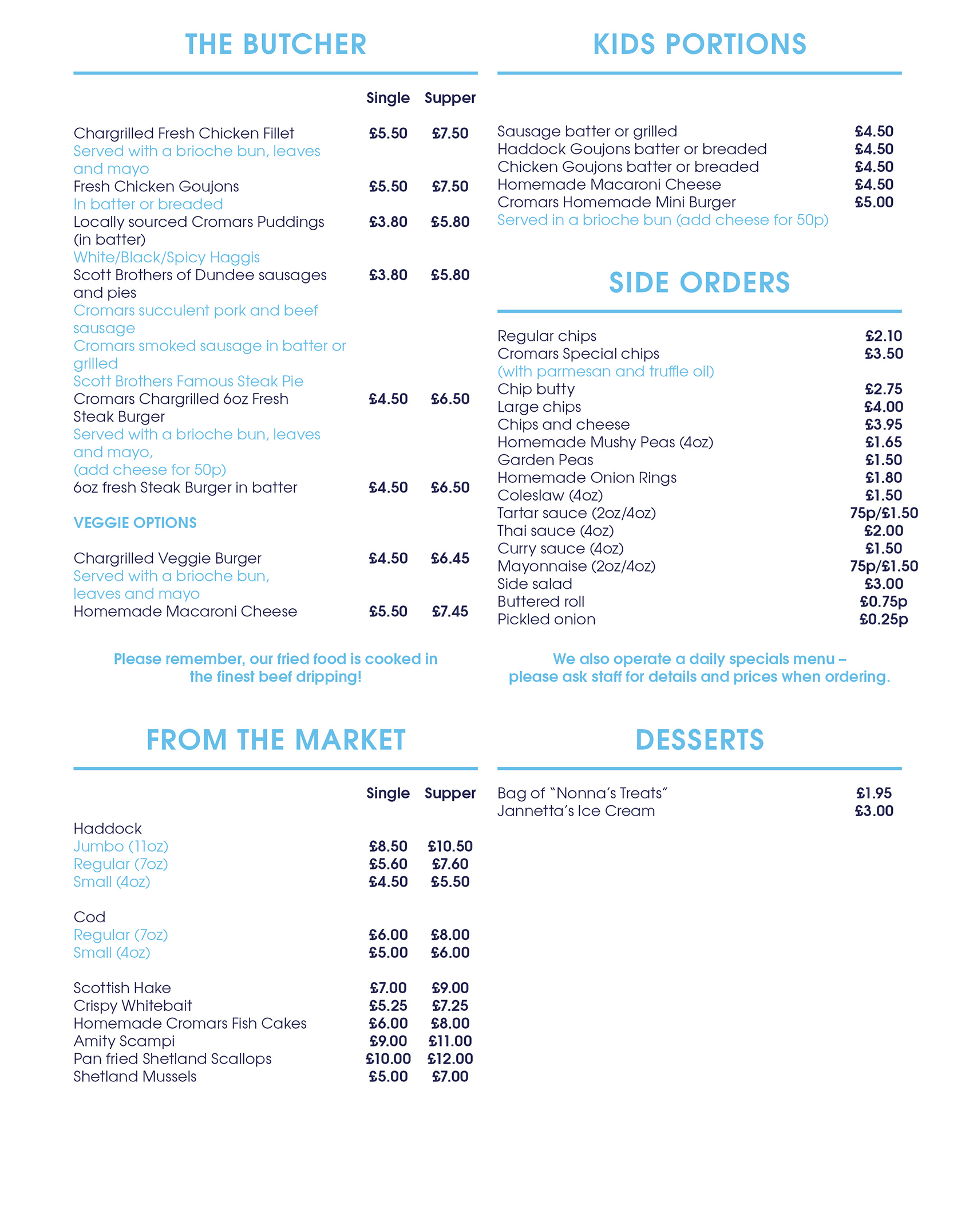 Where fish meets chip for Fish in a bottle menu
